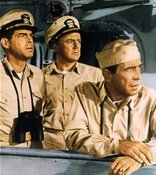 still from the movie the Caine Mutiny: (L to R) Keefer, Maryk, Queeg by MacMurray, Johnson, Bogart