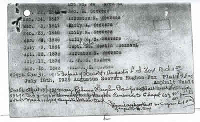 St. Martin burial plot card