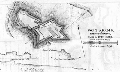 Fort Adams by GW Cullen (c. 1833-38; National Archives)