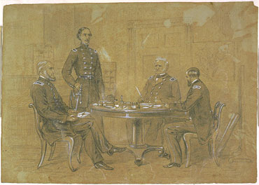 George Cullum, Schuyler Hamilton, Henry Van Rensselaer with Gen Winfield Scott, July 1861