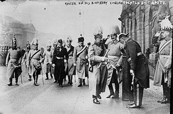Kaiser [Wilhelm II of Germany] on his birthday congratulated by [Admiral Alfred von] Tirpitz (c. 1900-1912)