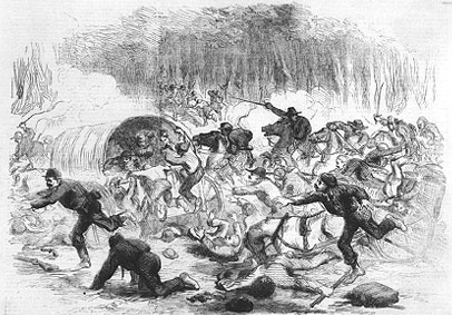 Federal troops retreat from Bull Run (Vizetelly, 1861)
