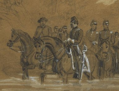 Waud drawing of Gen Sickles with F. Vizetelly (1861)