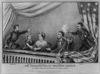 Currier & Ives: Lincoln shot at Ford's Theater (1865)