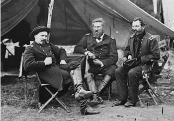 Harrison's Landing, Va. Col. Albert V. Colburn, Col. Delos B. Sacket, and Gen. John Sedgwick