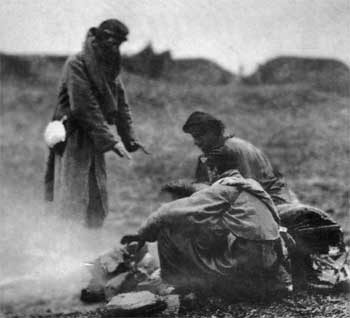 Soldiers around fire (National Archives)