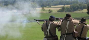 Infantrymen, firing