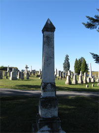 David Miller monument in Mt. View Cemetery, Sharpsburg