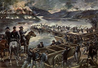 Pontoons across the Rapahannock, Fredericksburg, December 1862 (Levy from Phisterer, Vol 3)