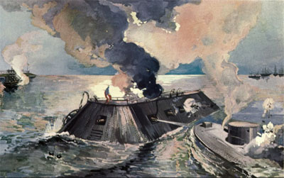 USS Monitor and CSS Virginia, 9 March 1862 (by Alexander Oscar Levy, from Phisterer, Vol. 2, opposite title page)