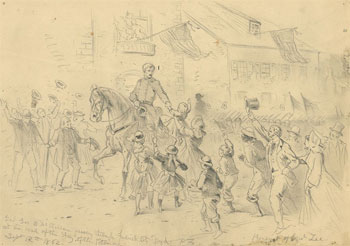 McClellan at Frederick (12 Sep 1862, Edwin Forbes)